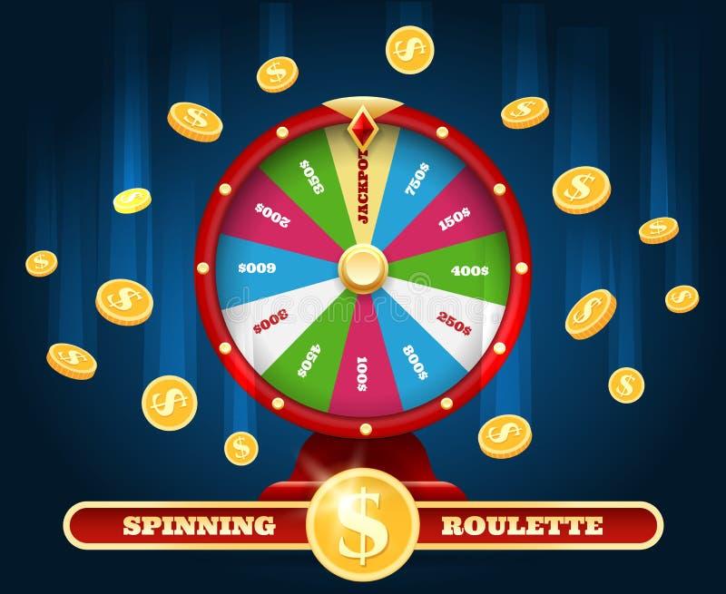 Pot de gelukkige wiel en regen van het winnaargeld royalty-vrije illustratie