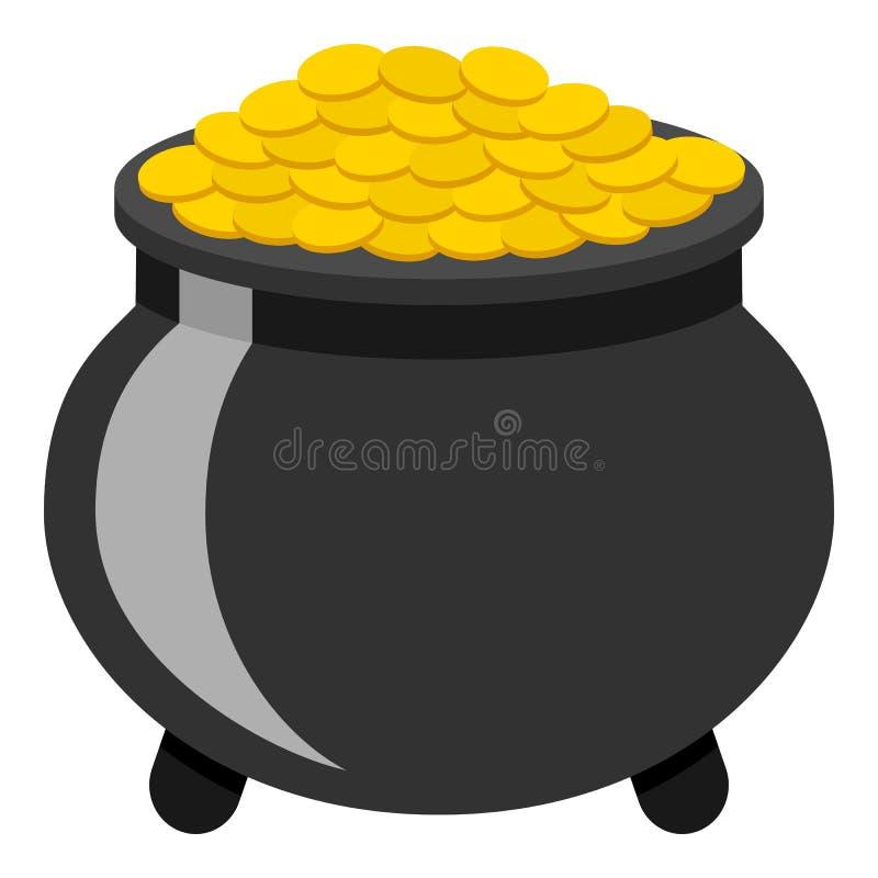 Pot de l'icône plate d'or d'isolement sur le blanc illustration libre de droits