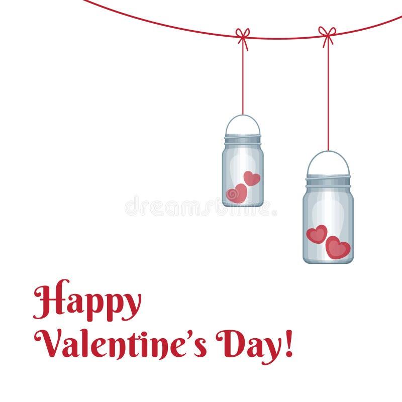 Pot de maçon avec des coeurs à l'intérieur Ongratulation de ¡ de Ð le jour du ` s de Valentine illustration libre de droits