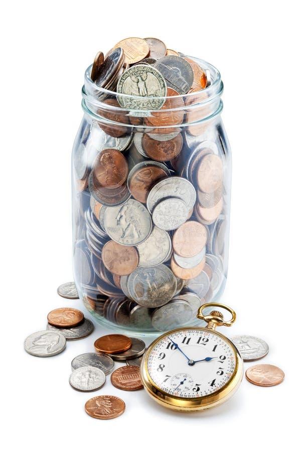 Pot de retraite de pièce de monnaie d'argent de temps images stock