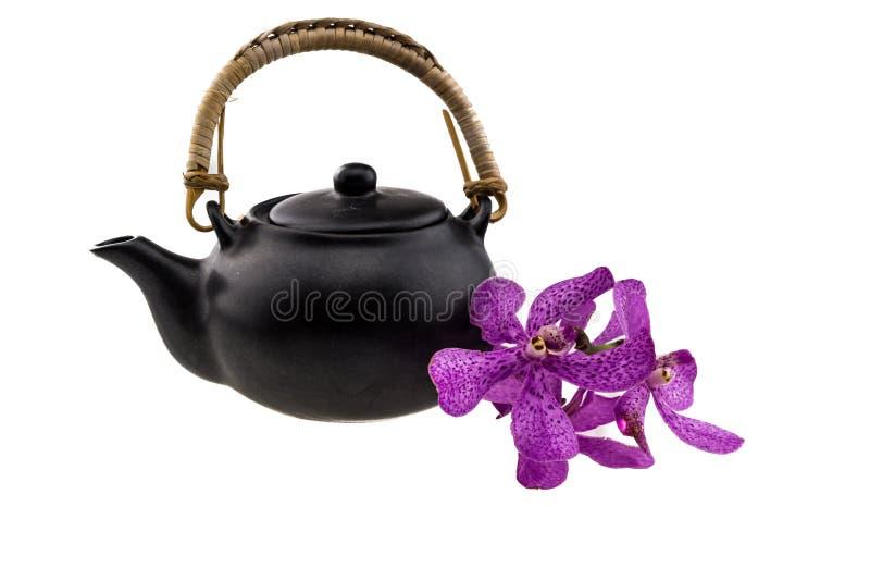 Pot de thé noir avec les orchidées roses de mokara d'isolement sur le backgro blanc photos stock