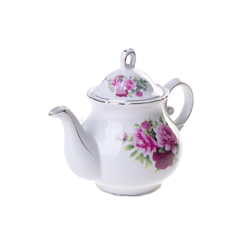 Pot de thé, théière en céramique sur le fond image stock