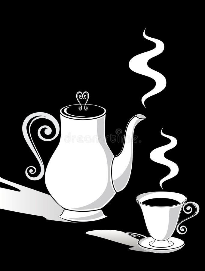 POT del caffè e una tazza illustrazione di stock