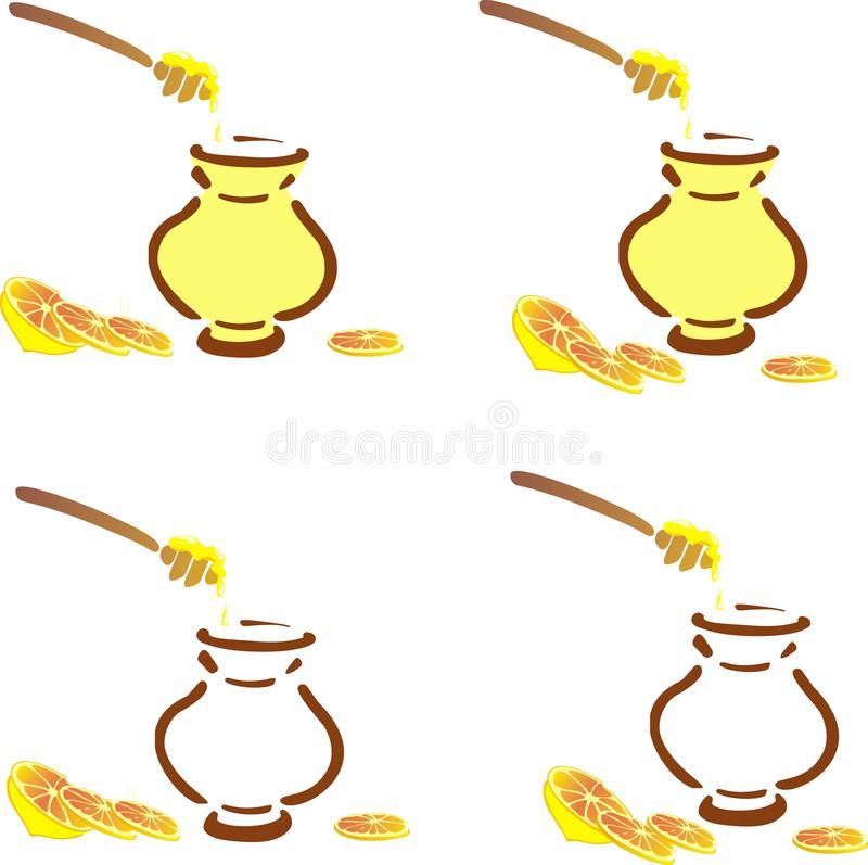 POT del miele e chiodo di garofano del limone illustrazione di stock