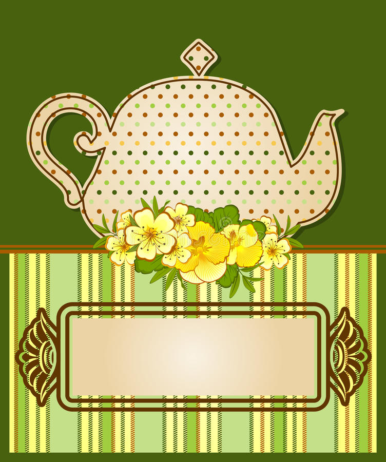 POT del tè con i bei fiori illustrazione vettoriale