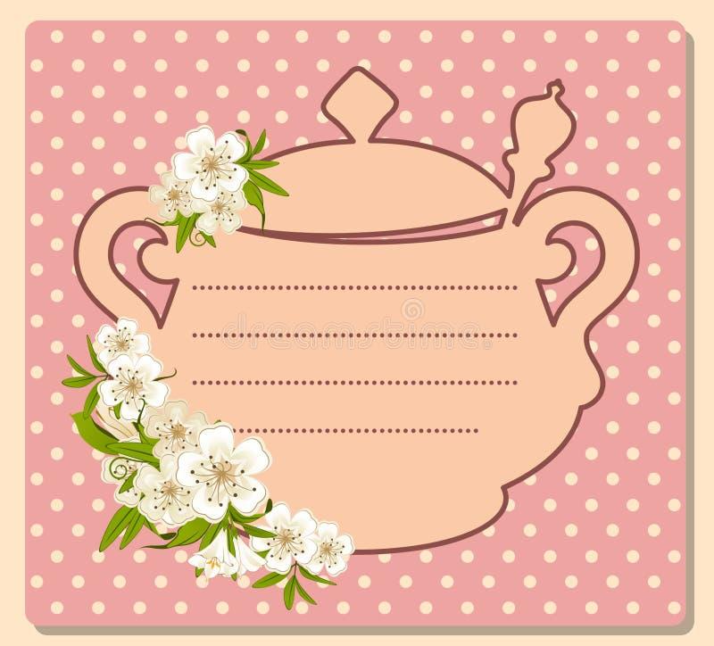 POT del tè con i bei fiori illustrazione di stock