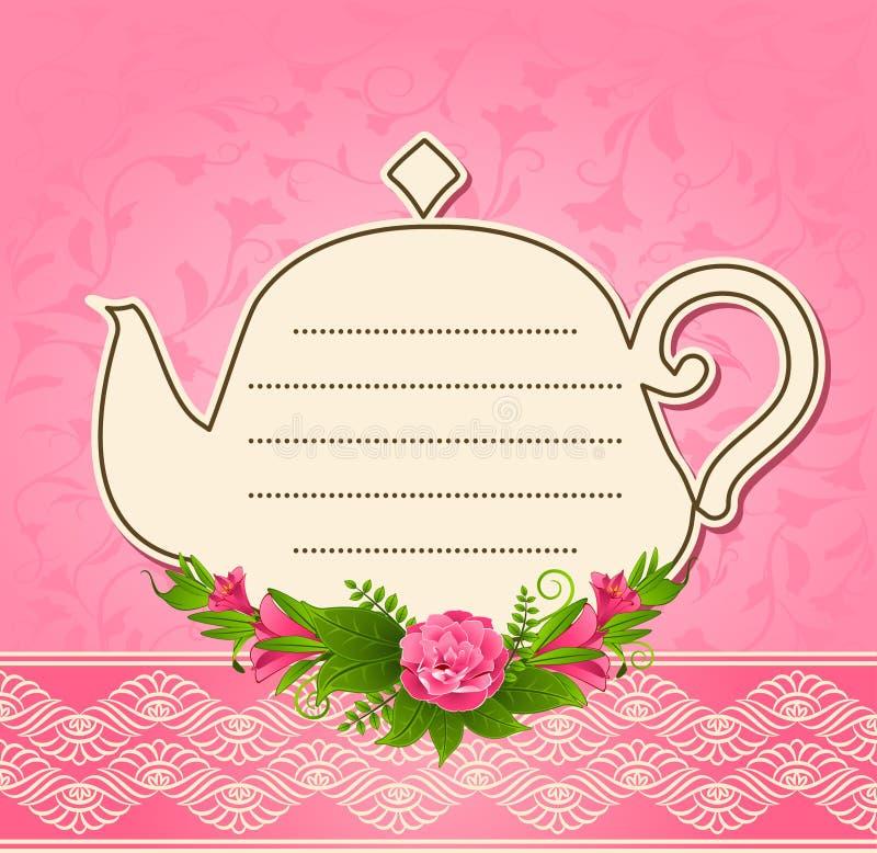 POT di ceramica del tè con i bei fiori illustrazione vettoriale
