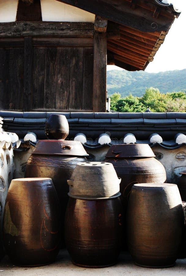 POT di Kimchi. fotografia stock