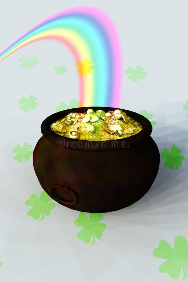 POT di oro all'estremità del Rainbow immagini stock libere da diritti