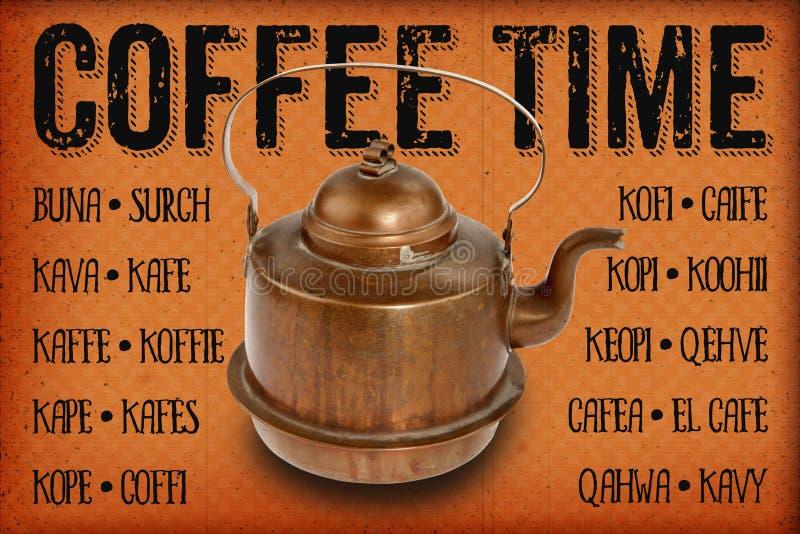 POT di rame antico del caffè illustrazione di stock