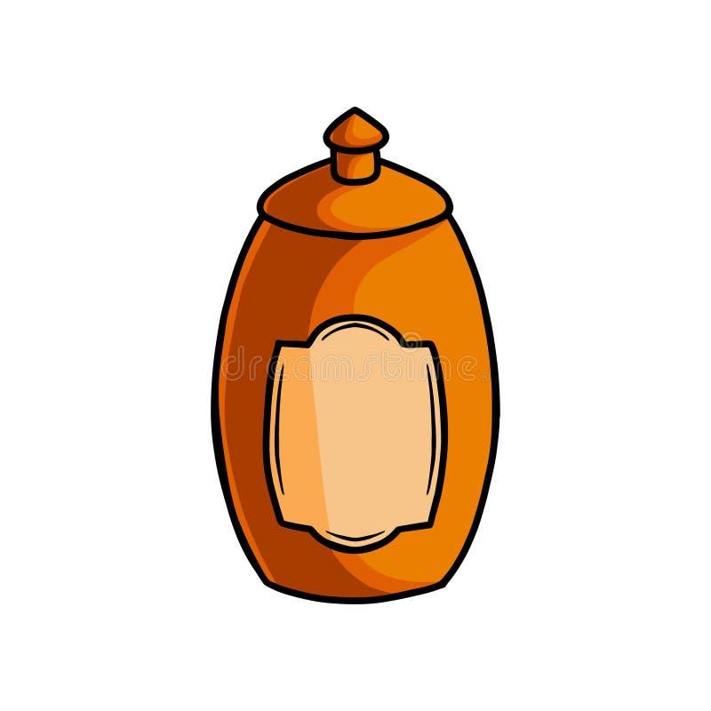 Pot doux en bois de miel, pot de grand-maman de cuisine illustration libre de droits