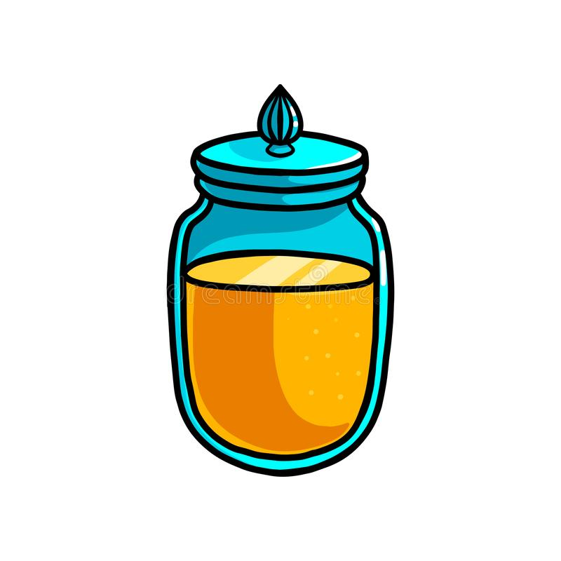 Pot doux frais dans le pot en verre, couleur d'or illustration stock