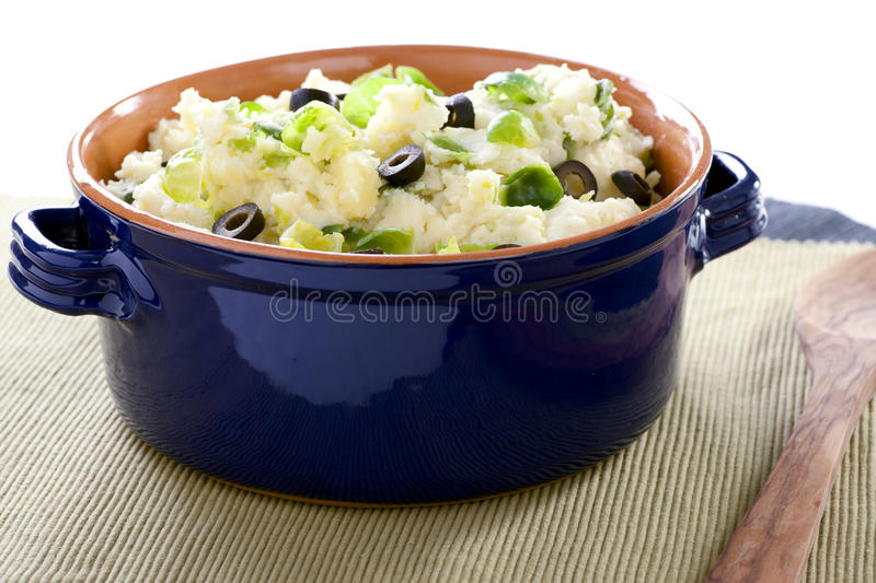 Pot of Dutch Stamppot. Dutch stamppot (gourmet mashed potatoes) with brussel sprouts and olives. mmm lekker royalty free stock photography
