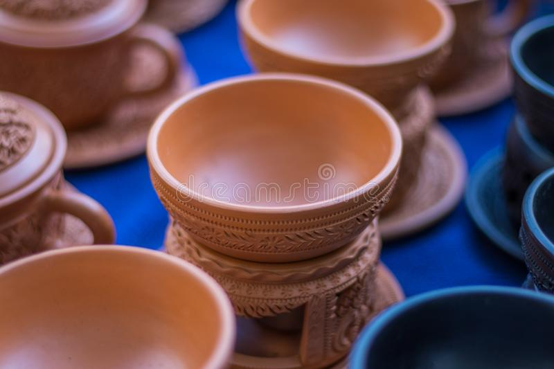 Pot and Earthenware Cups Nonthaburi Province royalty free stock image