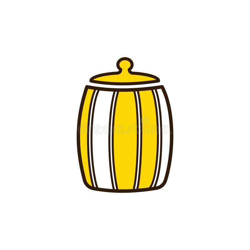Pot en bois de barillet ou de miel L'apiculture et rucher illustration stock