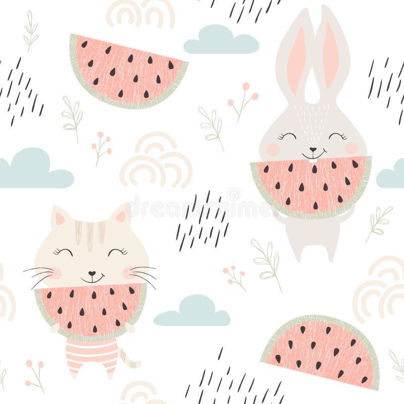 Pot en konijntjes naadloos patroon vector illustratie