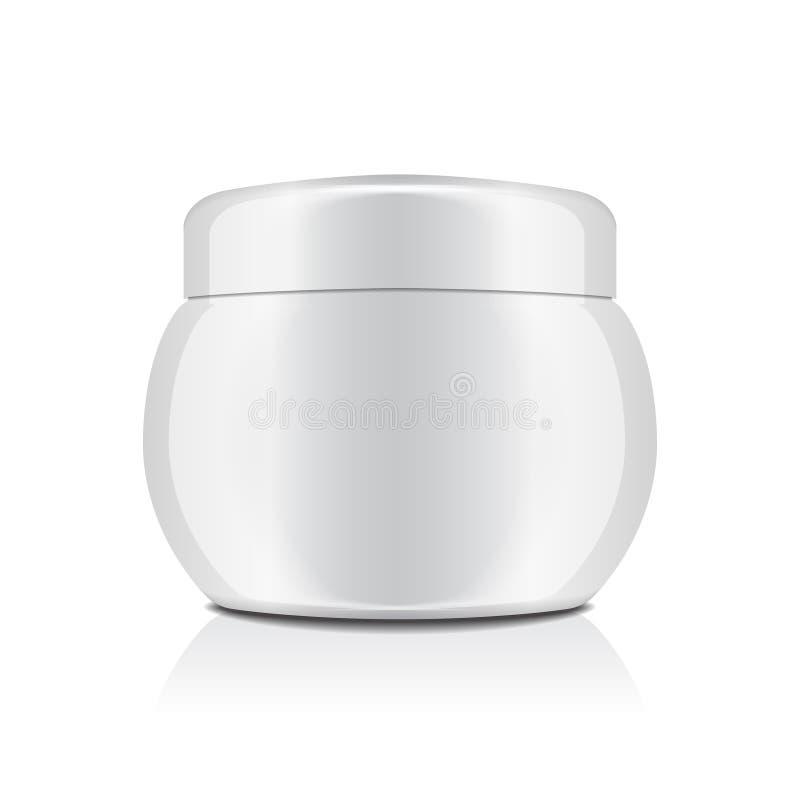 Pot en plastique blanc avec le chapeau pour des cosmétiques À bac fermé Calibre de maquette de vecteur illustration stock