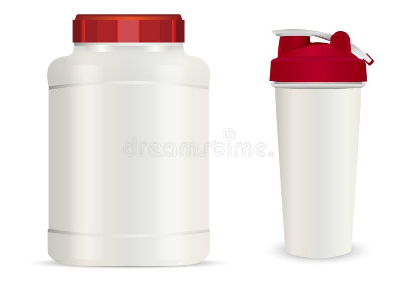 Pot en plastique blanc r?aliste, bouteilles de boissons de dispositif trembleur illustration de vecteur