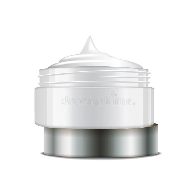 Pot en plastique blanc rond avec le chapeau argenté pour des cosmétiques Conteneur ouvert Calibre de maquette de vecteur illustration libre de droits