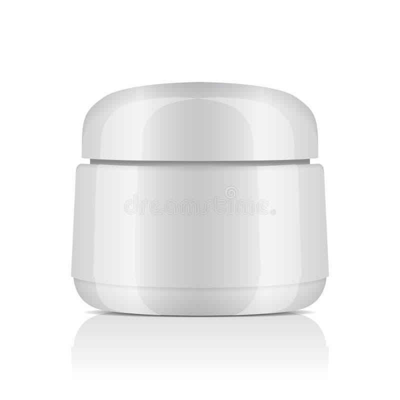 Pot en plastique blanc rond avec le couvercle pour des cosmétiques Baume, crème, gel, onguent Calibre de maquette de vecteur illustration de vecteur