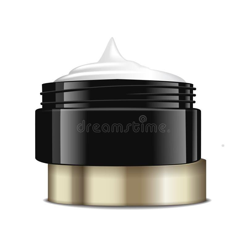 Pot en plastique noir rond avec le chapeau d'or pour des cosmétiques Conteneur ouvert Calibre de maquette de vecteur illustration de vecteur