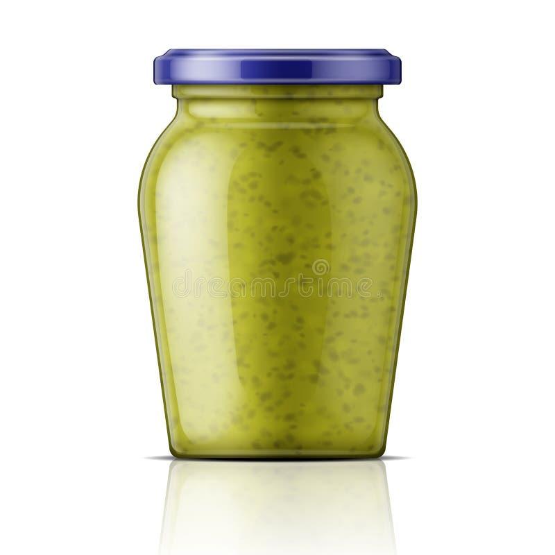 Pot en verre avec de la sauce à pesto illustration de vecteur