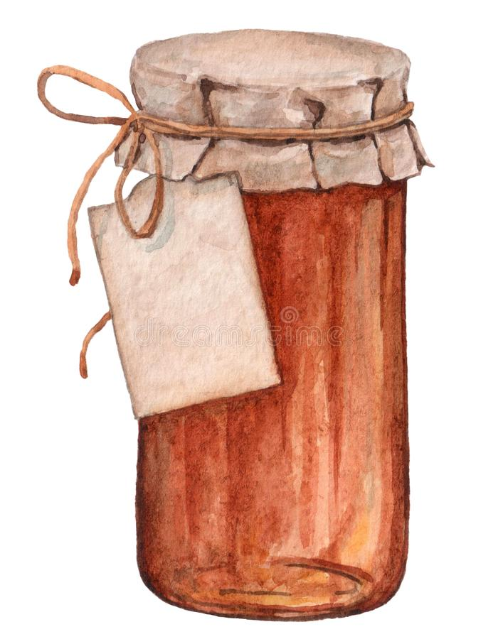 Pot en verre avec la confiture et le miel doux illustration stock