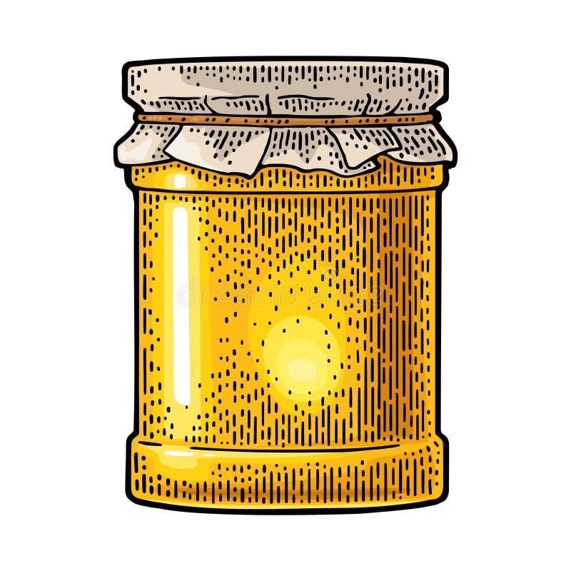 Pot en verre avec le papier de empaquetage de miel Gravure de la couleur de vecteur de cru illustration stock