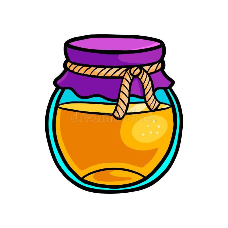 Pot en verre de miel avec la pièce de textile avec la corde de coton illustration libre de droits