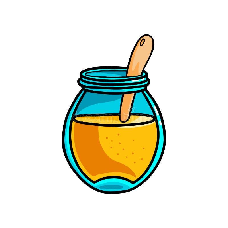 Pot en verre ouvert avec la cuillère en bois du miel doux frais illustration stock