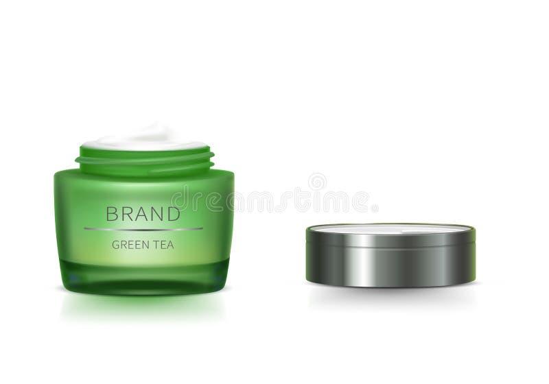 Pot en verre vert avec le couvercle ouvert illustration libre de droits