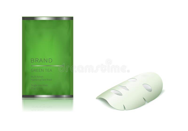 Pot en verre vert et masque facial de feuille illustration de vecteur