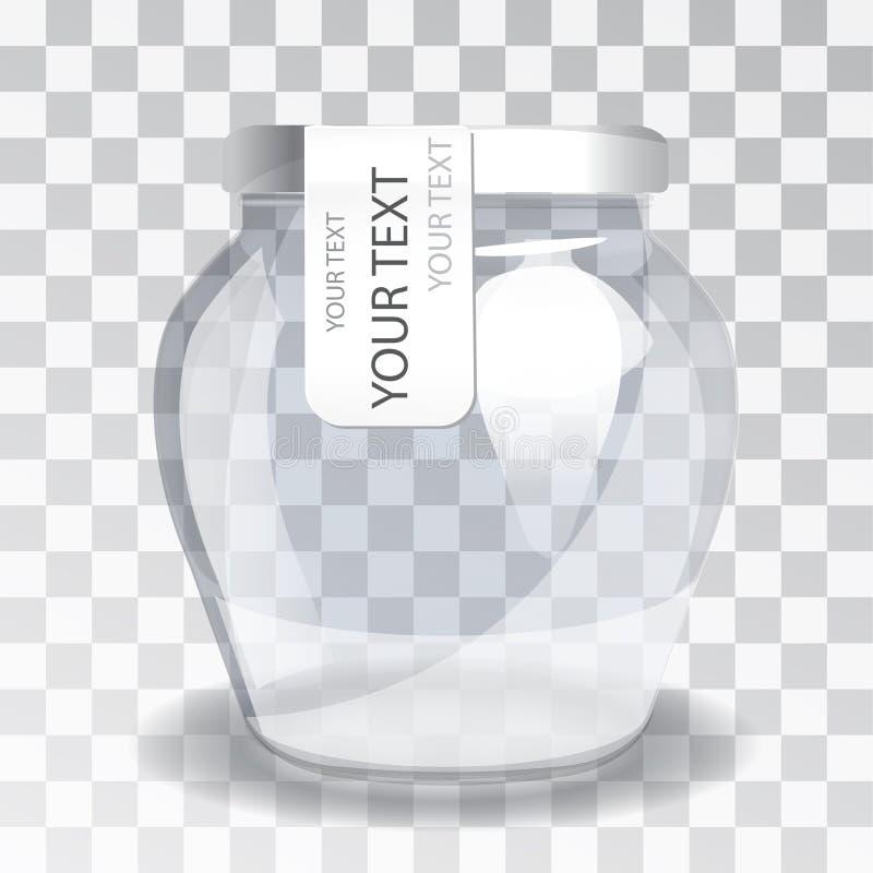 Pot en verre vide avec un label sur un fond transparent La nouvelle conception d'emballage illustration stock