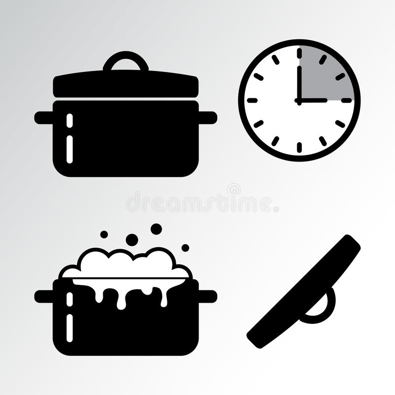 Pot et cuisson de l'icône de minuterie Vecteur illustration stock