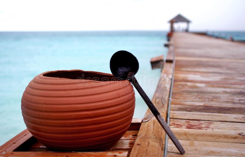 Pot on an exotic resort.