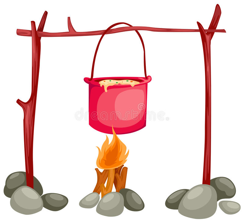 Pot on the fire vector illustration