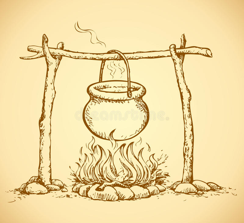 Pot On The Fire Vector Drawing Stock