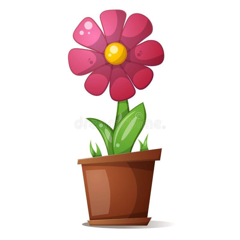 Pot, fleur - illustration de bande dessinée illustration libre de droits