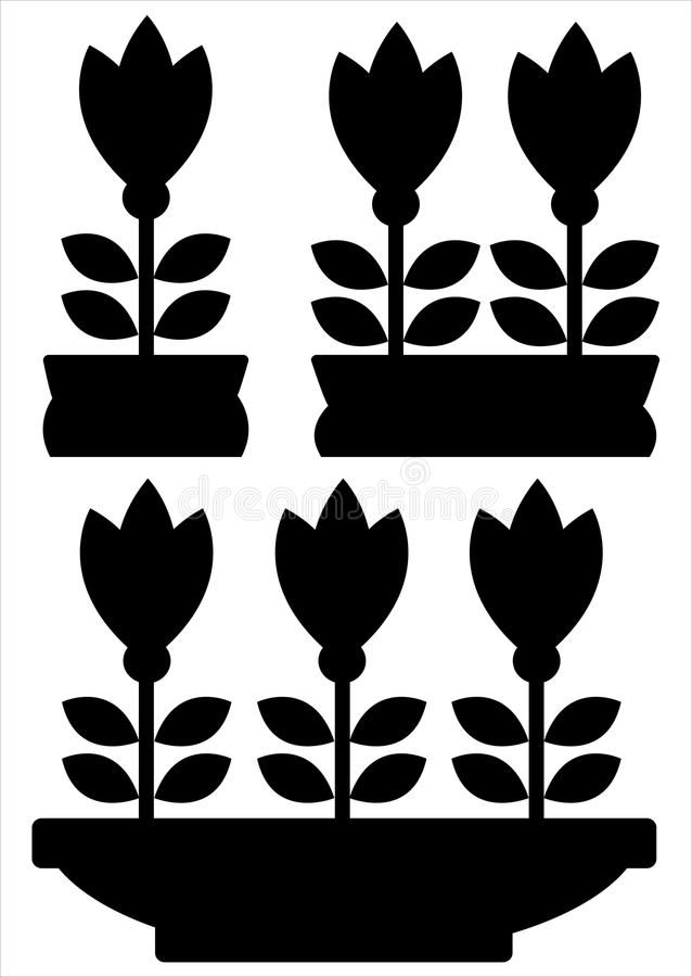 Pot of flowers icons isolated on white. Background vector illustration