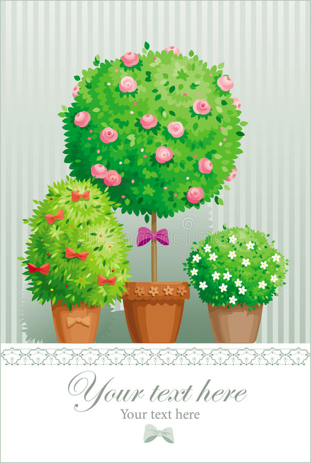 Pot flowers and trees royalty free illustration