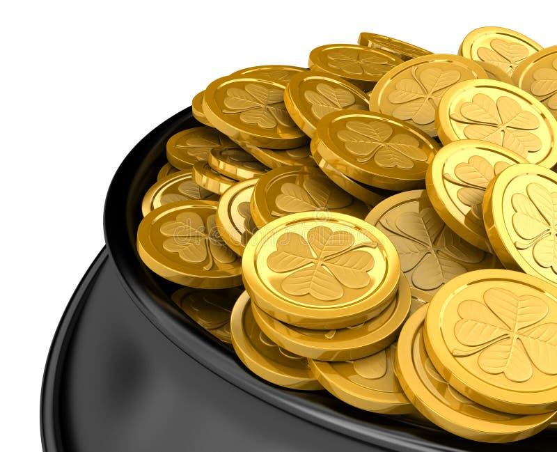 Download Pot full of golden coins stock illustration. Illustration of bronze - 13486944