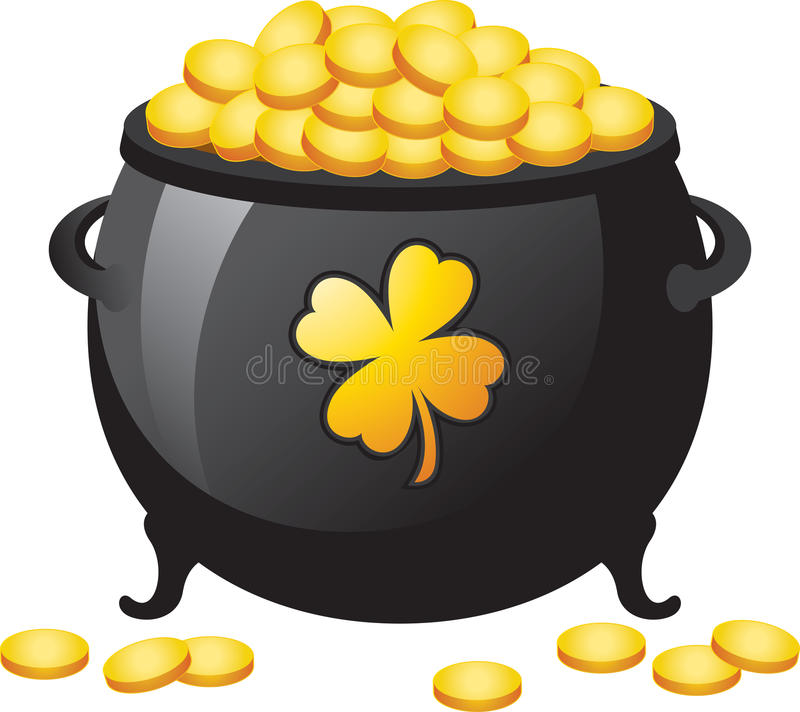 Pot of Gold. An illustration of a St. Patrick's Day a white background royalty free illustration