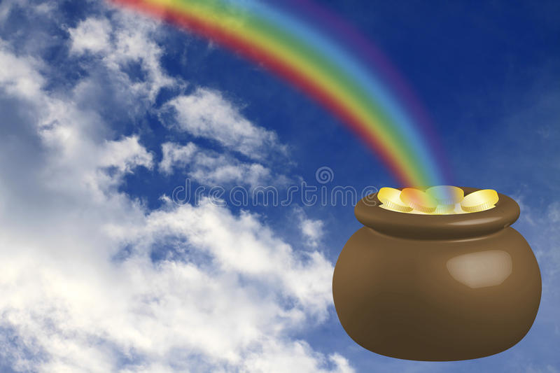 Pot with gold stock image