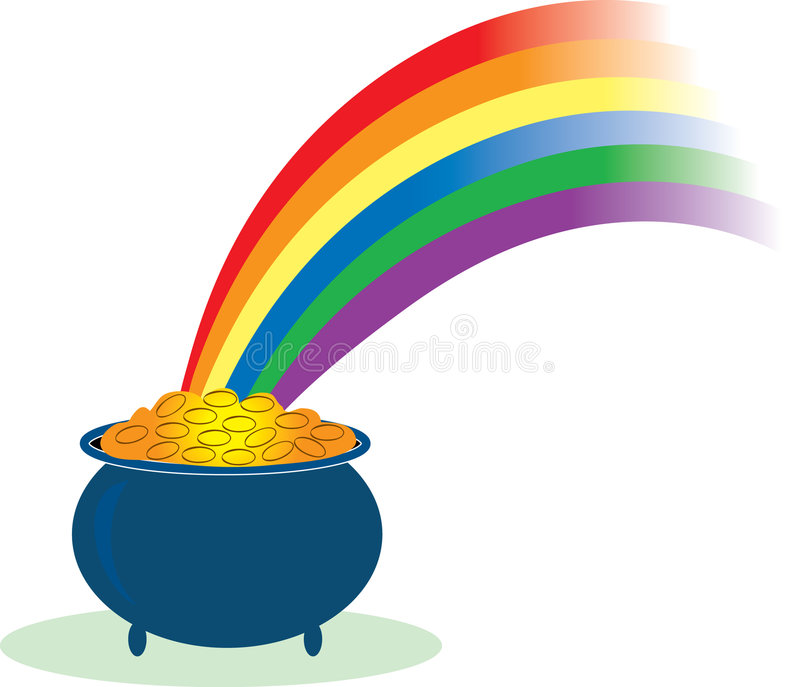Pot of Gold. With a rainbow shining in it vector illustration