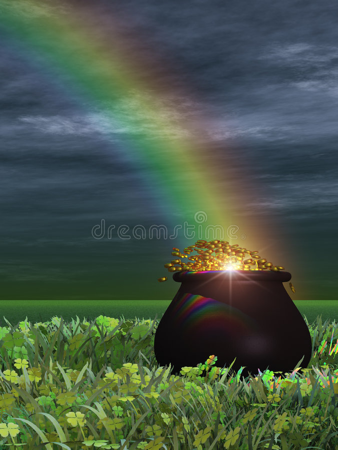 Download Pot of Gold stock illustration. Image of gold, clover - 1939467