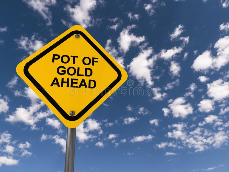Pot of gold ahead traffic sign. On blue sky royalty free illustration