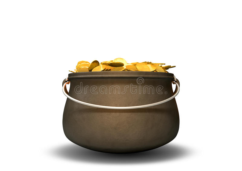 Pot Of Gold. A cast iron pot filled with gold coins on an isolated background royalty free stock image
