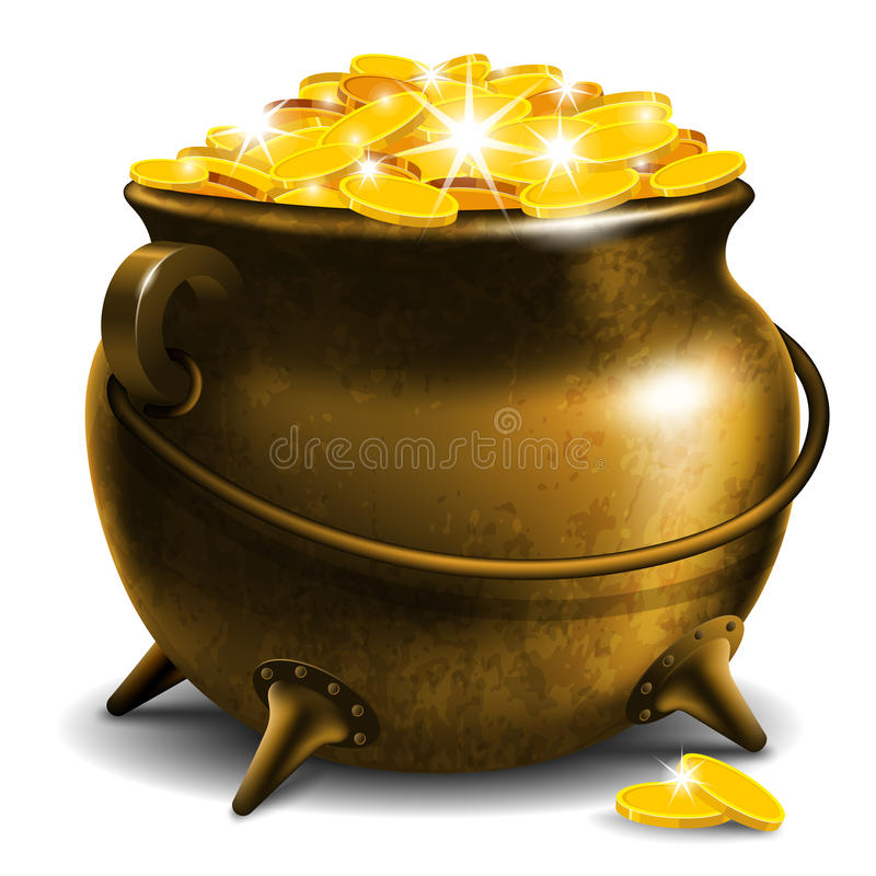 Pot with gold coin stock illustration