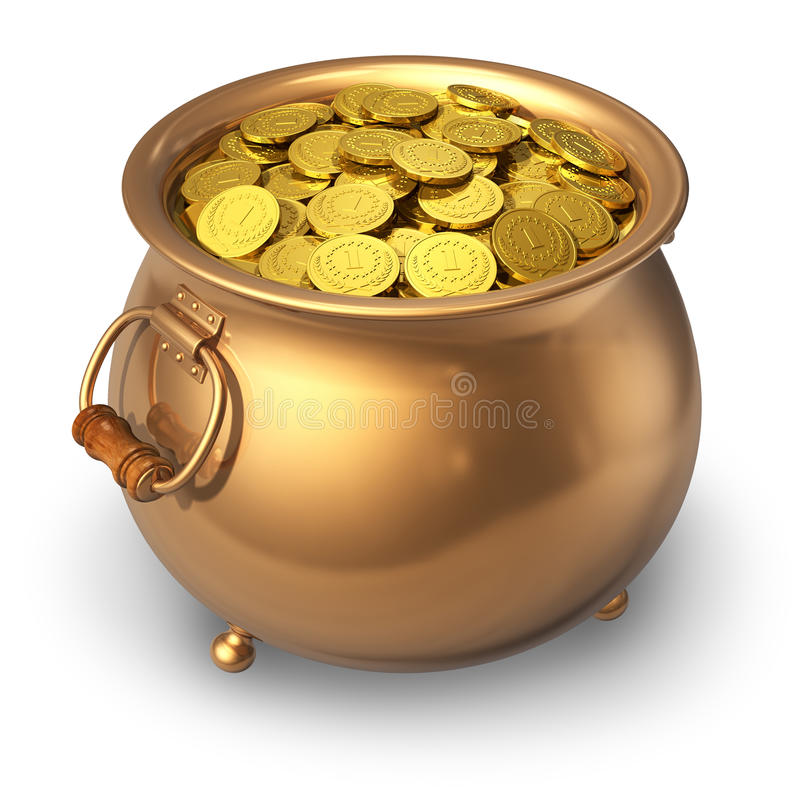 Pot Of Gold Coins Stock Images
