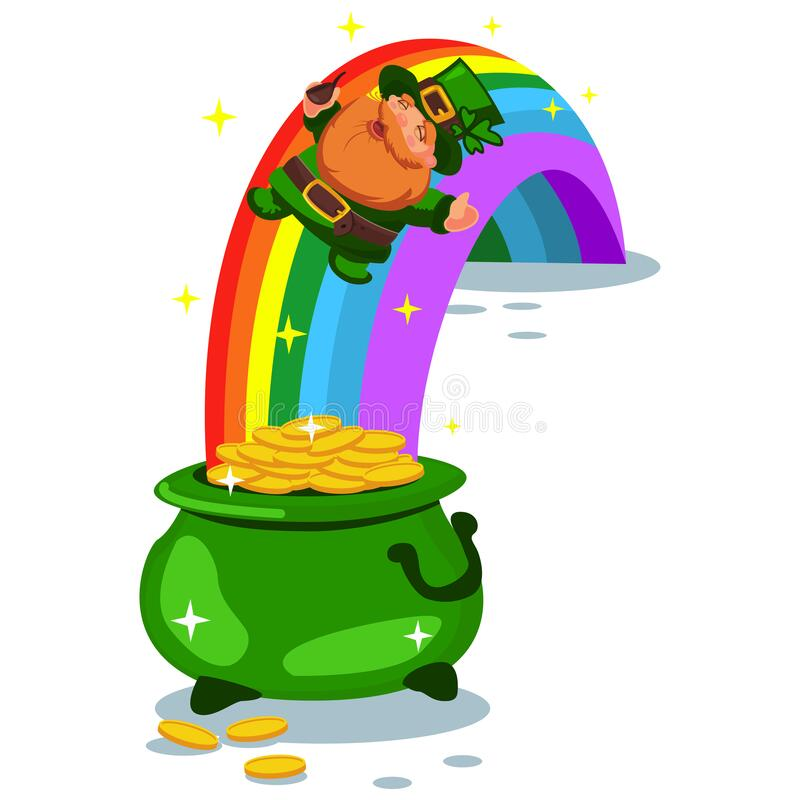 Vector Illustration Of Happy Leprechaun Man With Coin Pot On White